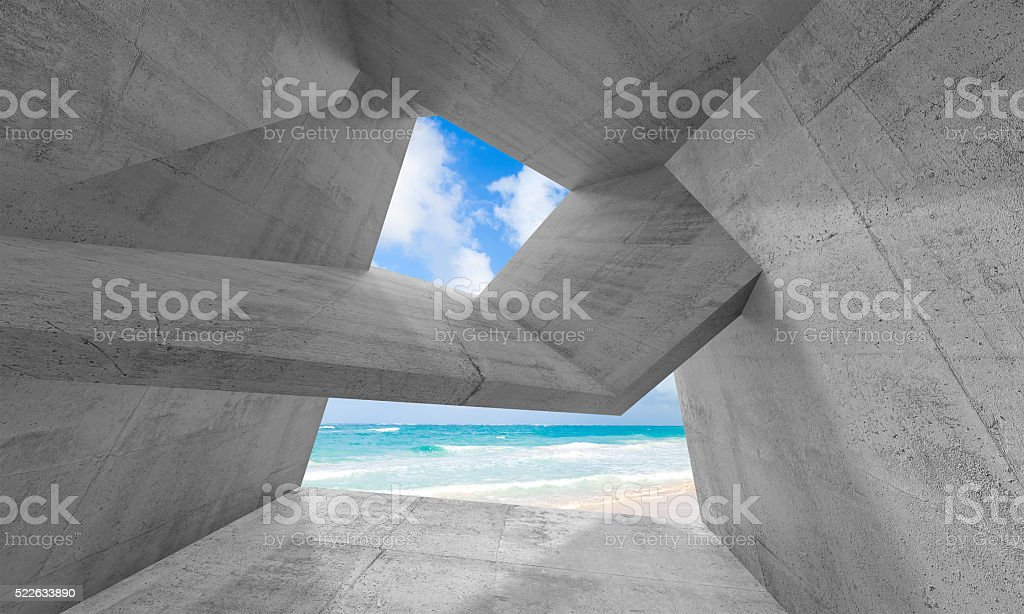 3d concrete interior with sunny beach outside stock photo