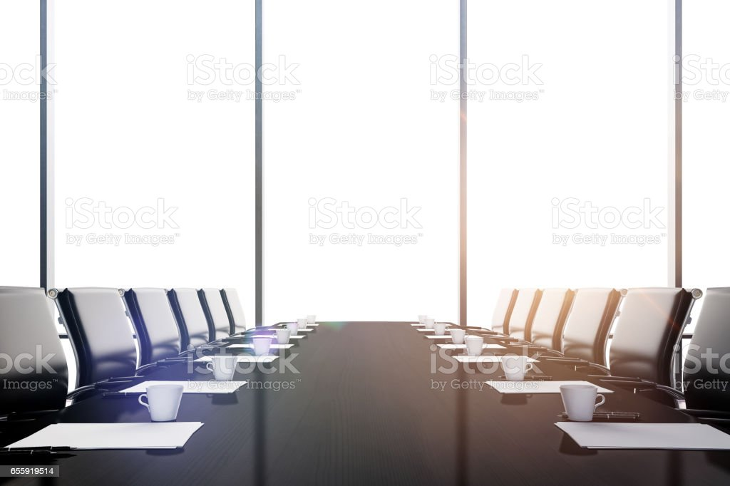 3d conference office room with a big window stock photo
