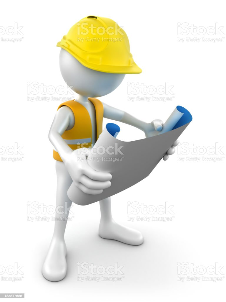 3d Construction worker reading plans, isolated w. clipping path royalty-free stock photo