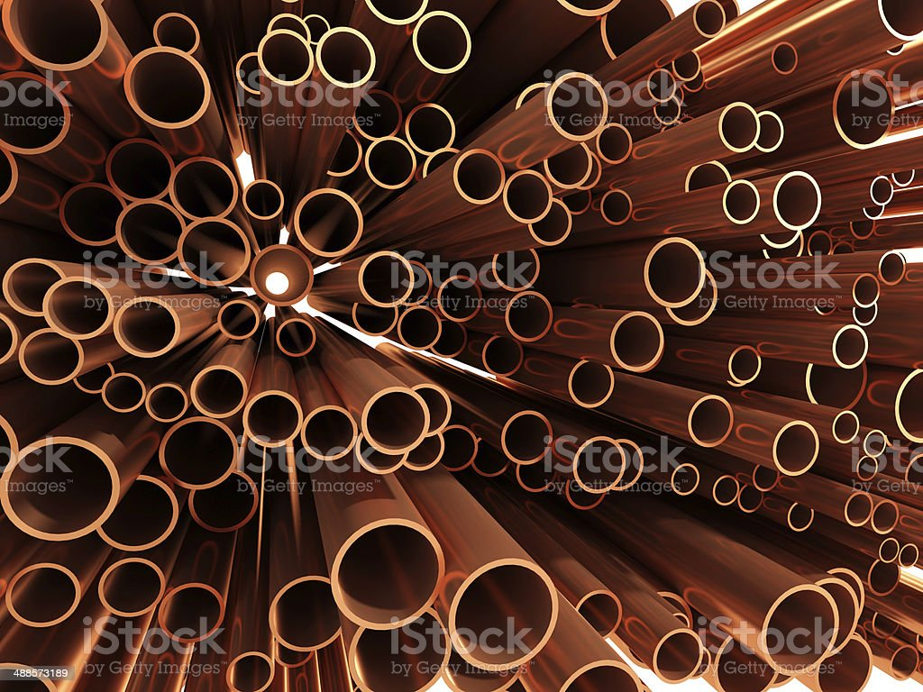 3d Copper pipe ends stock photo
