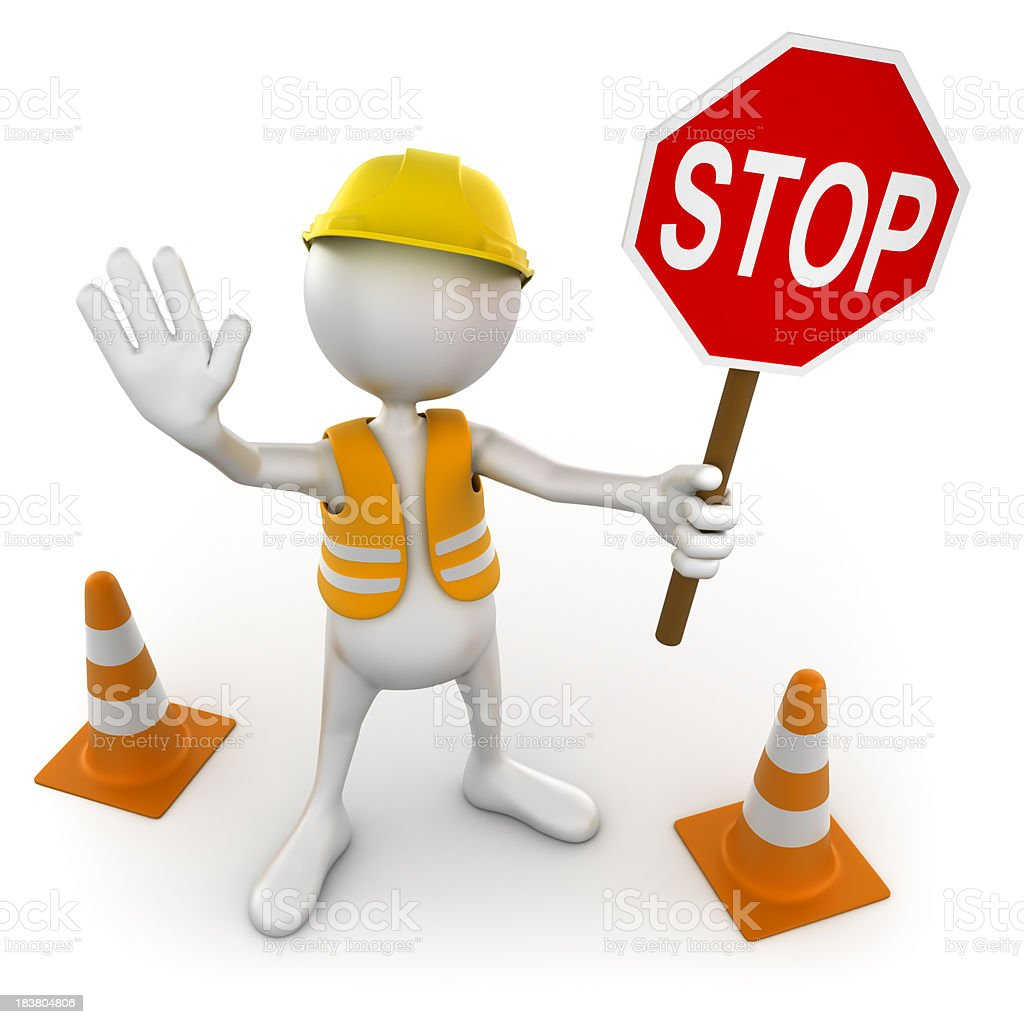 3d Costruction worker with stop sign, isolated / clipping path stock photo