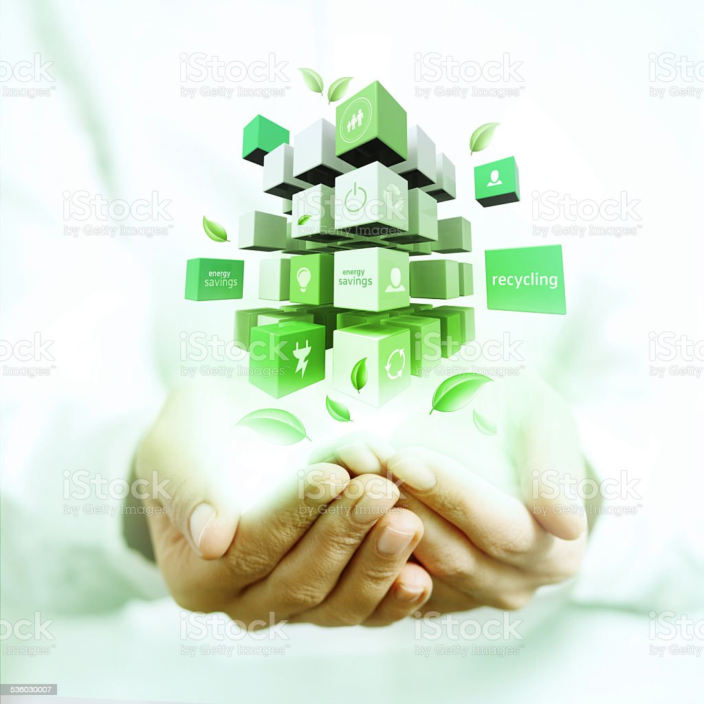 3d cubes on hands stock photo