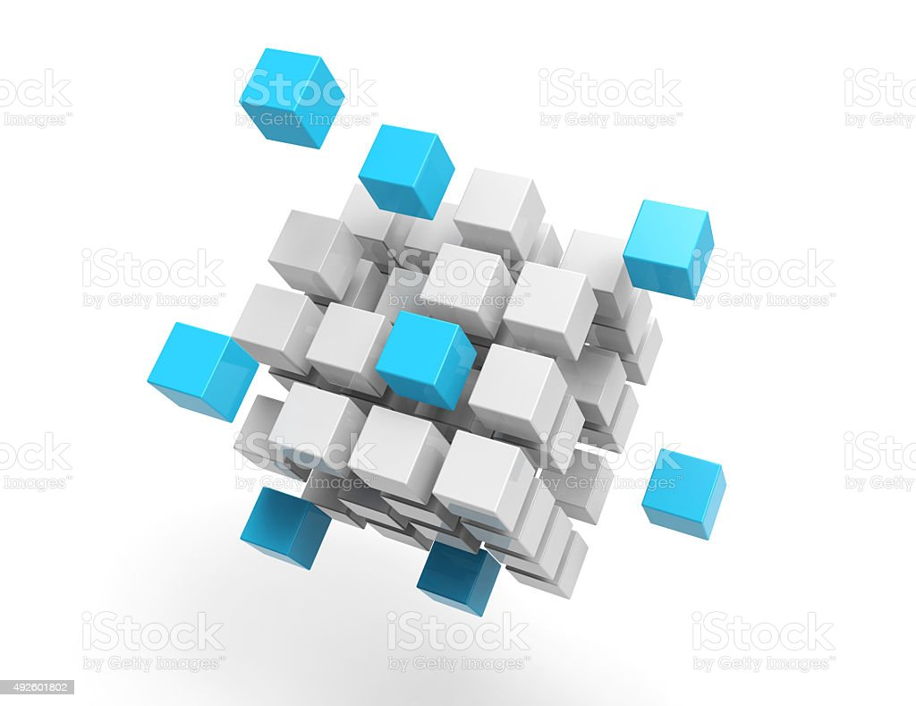 3d cubes on white background stock photo
