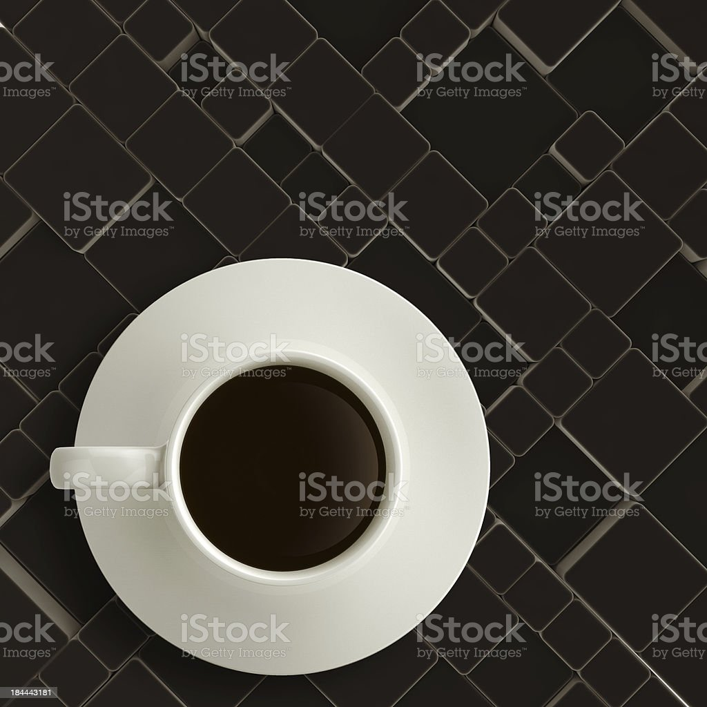 3d cup of coffee on matt cube wood royalty-free stock photo