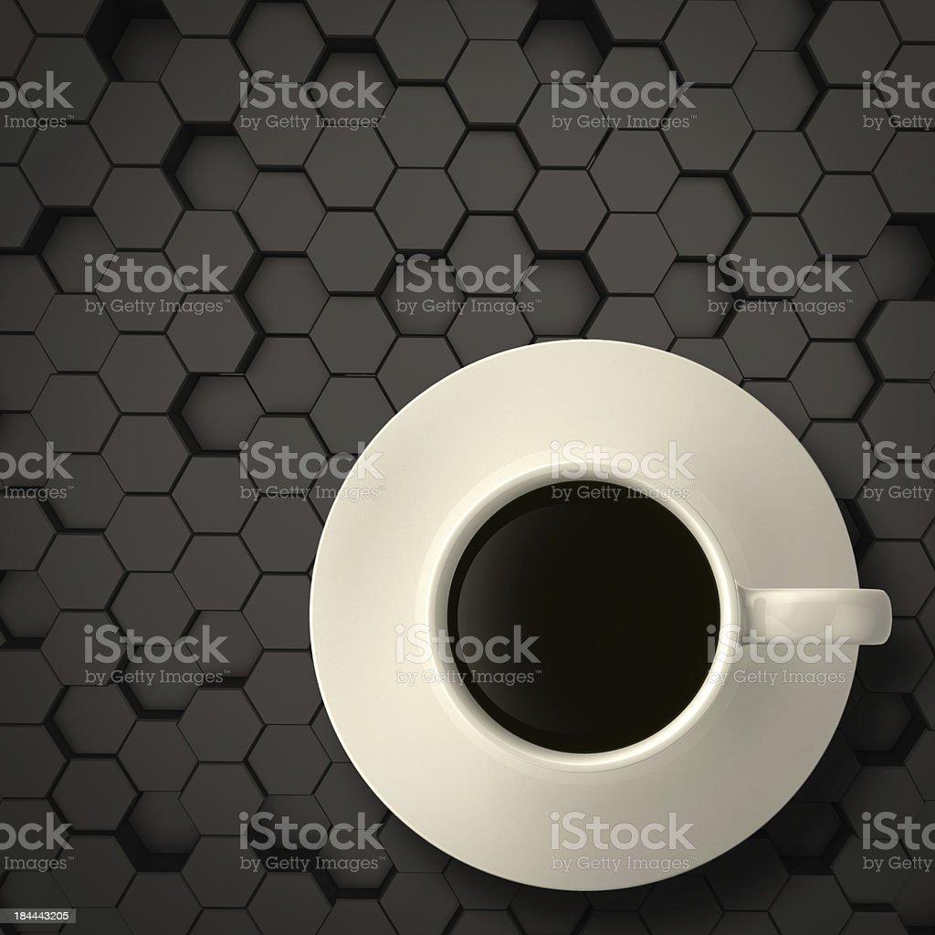 3d cup of coffee on matt hexagon steel royalty-free stock photo