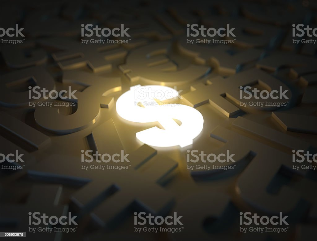 3d currency symbols with a luminous dollar. stock photo
