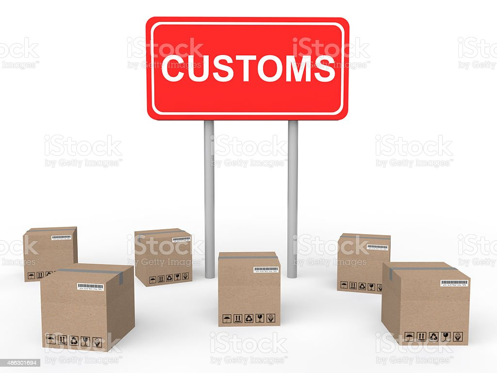 3d customs sign board with cartons stock photo