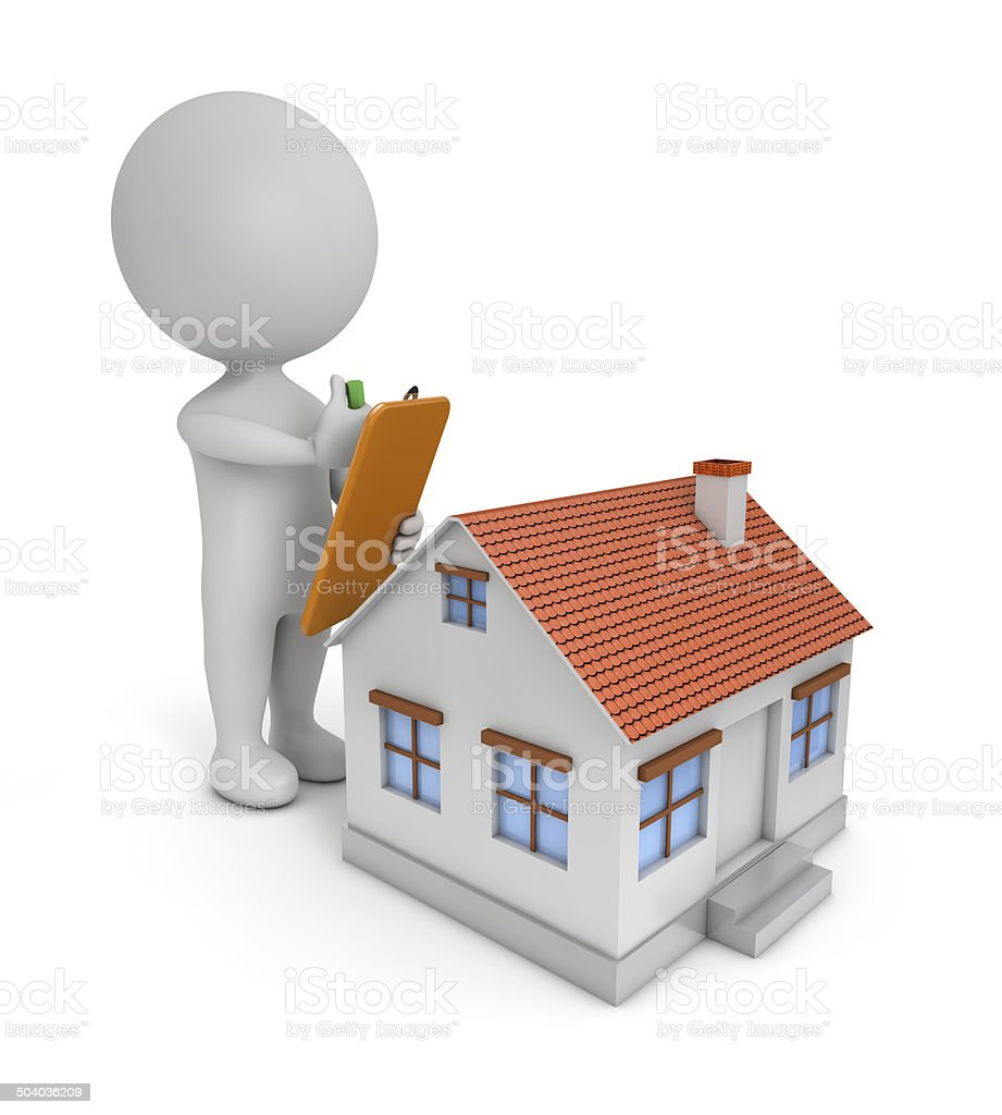 3d cute people - house check stock photo