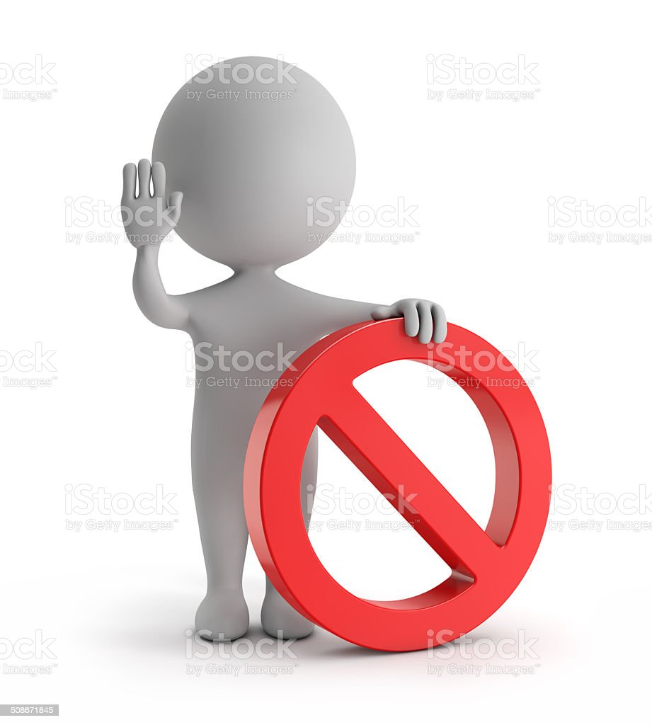 3d cute people - standing with red no sign (forbidden) stock photo
