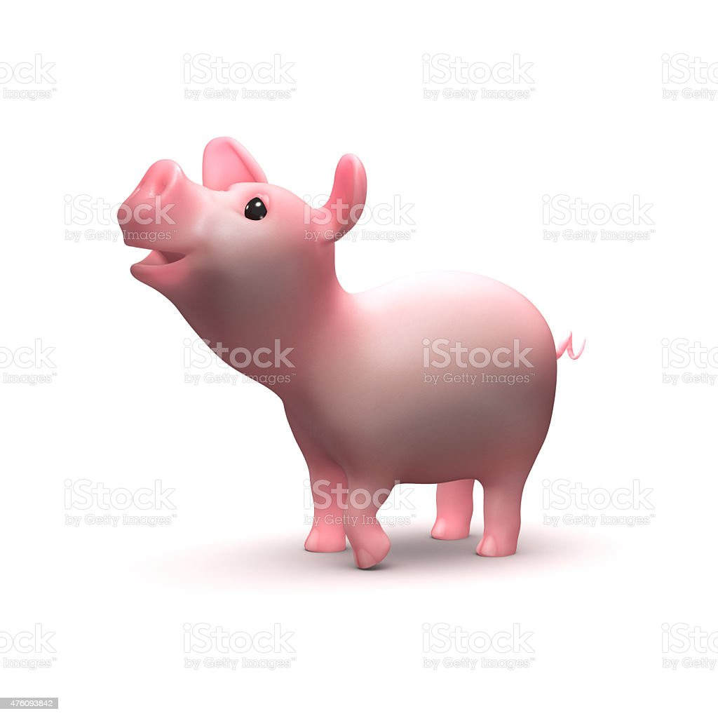 3d Cute piglet looks up stock photo