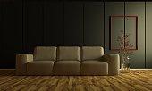 3d dark room interior concept