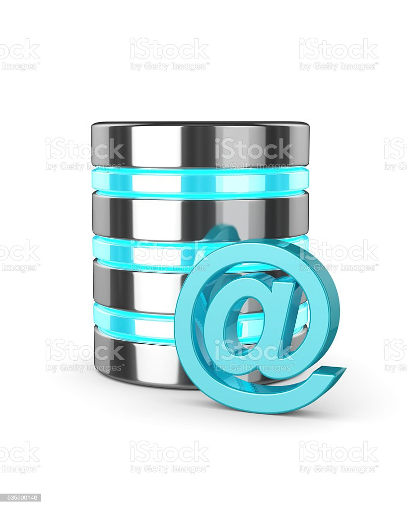 3d database and email sign isolated over white stock photo