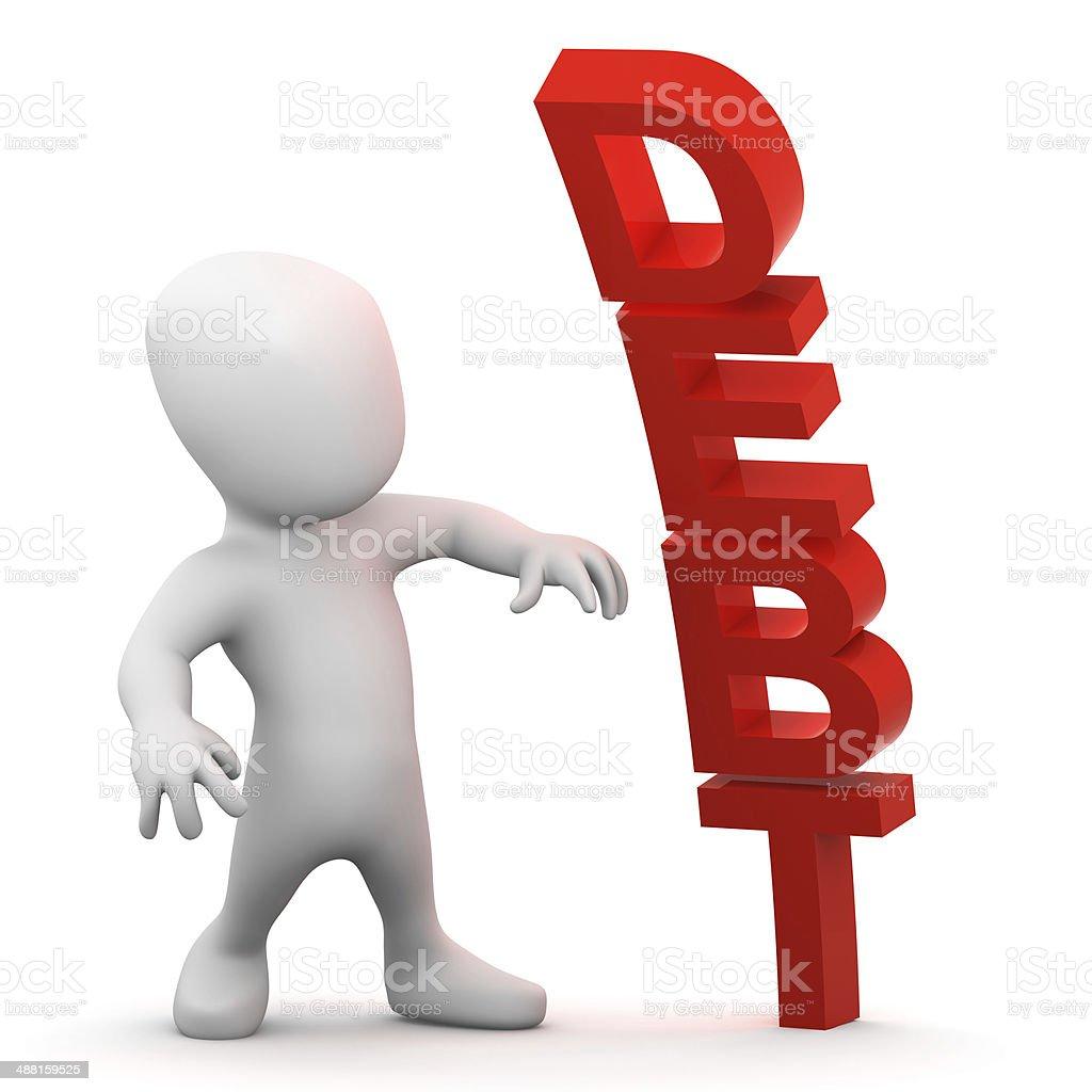 3d Debt man stock photo