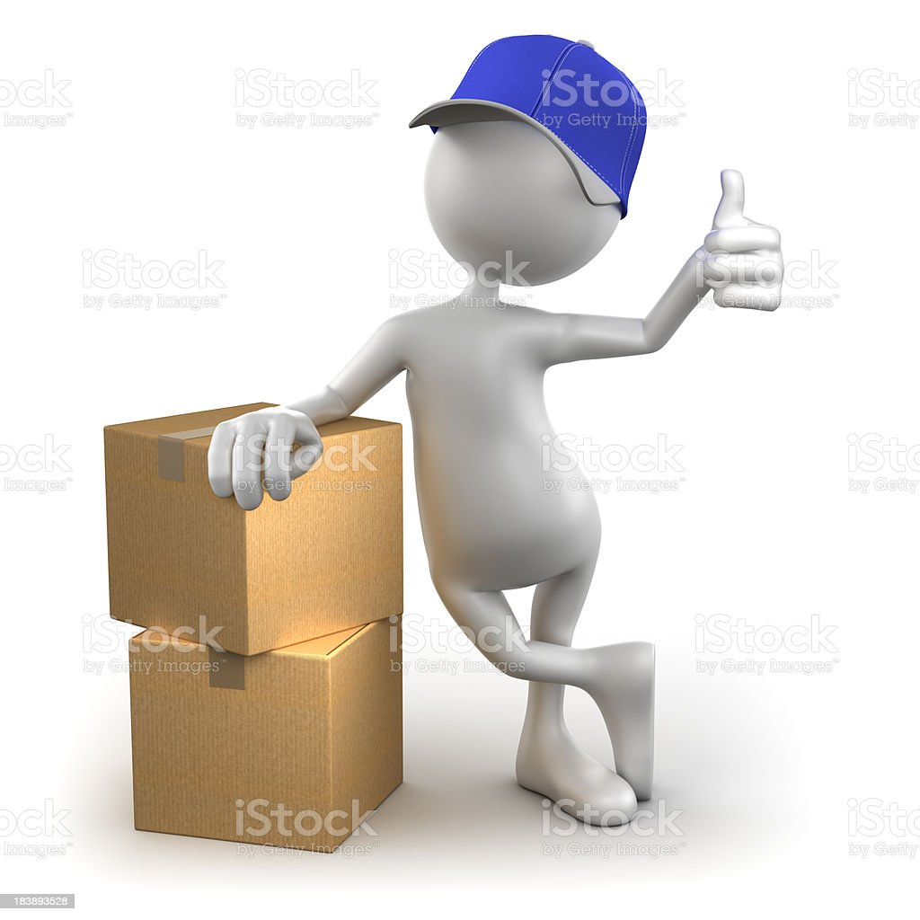 3d Delivery Man with cardboard boxes, isolated / clipping path royalty-free stock photo