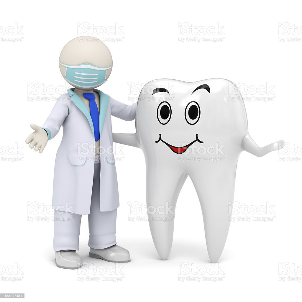 3d dentist with a smiling tooth icon royalty-free stock vector art