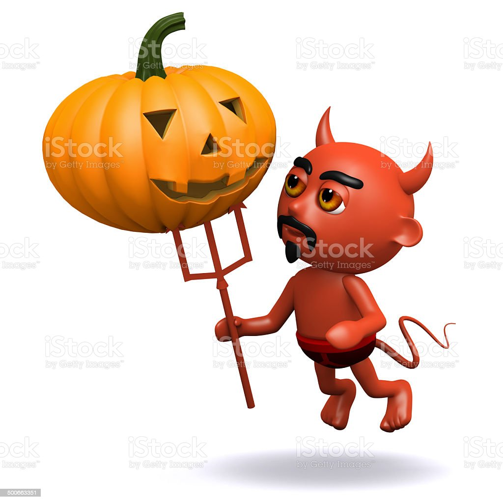 3d Devil with a pumpkin royalty-free stock photo