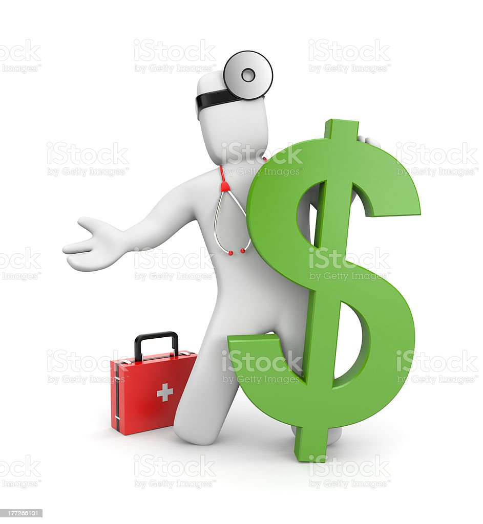 3d doctor with firstaid and dollar royalty-free stock photo