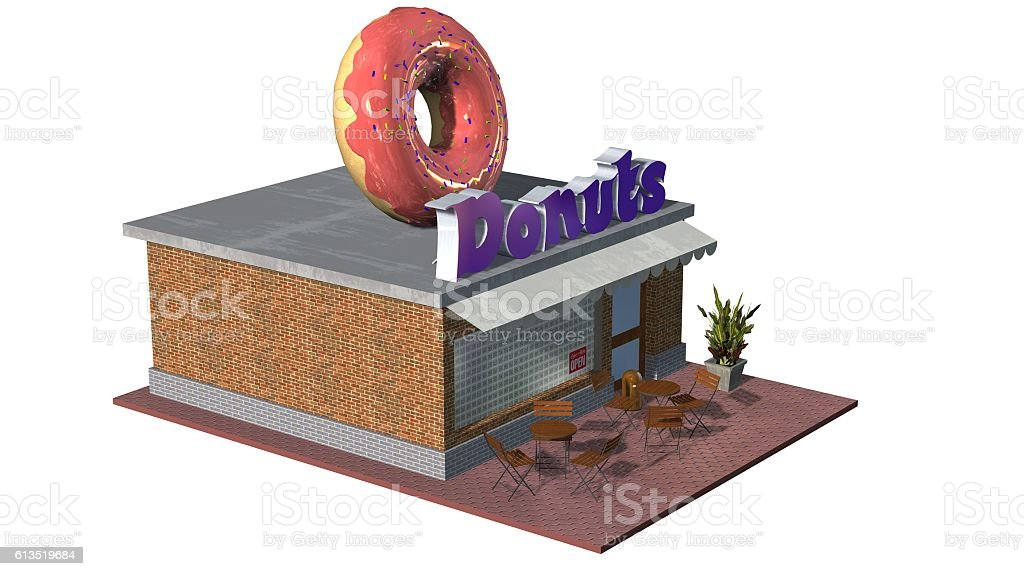 3d Donut Shop restaurant or cafe building isolated on white vector art illustration