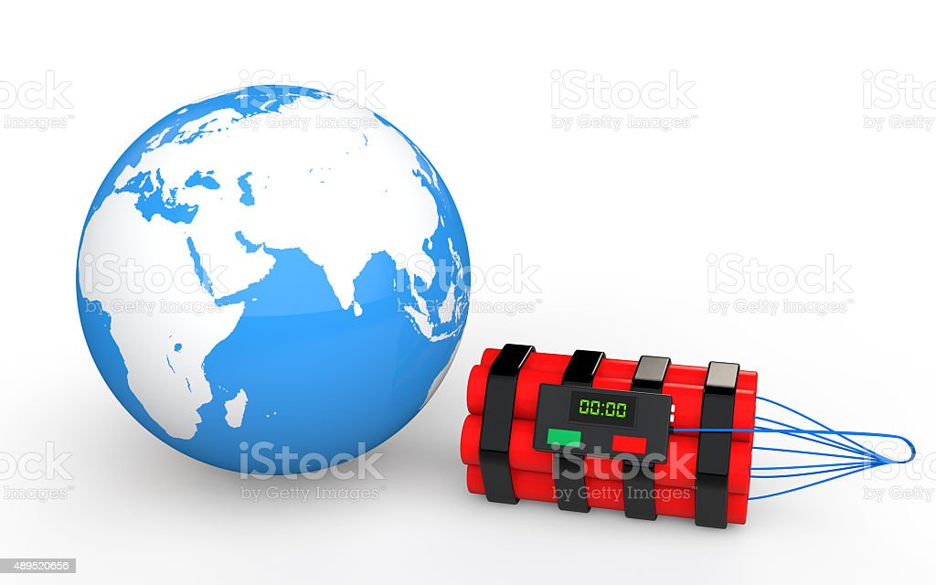 3d earth globe and time bomb stock photo