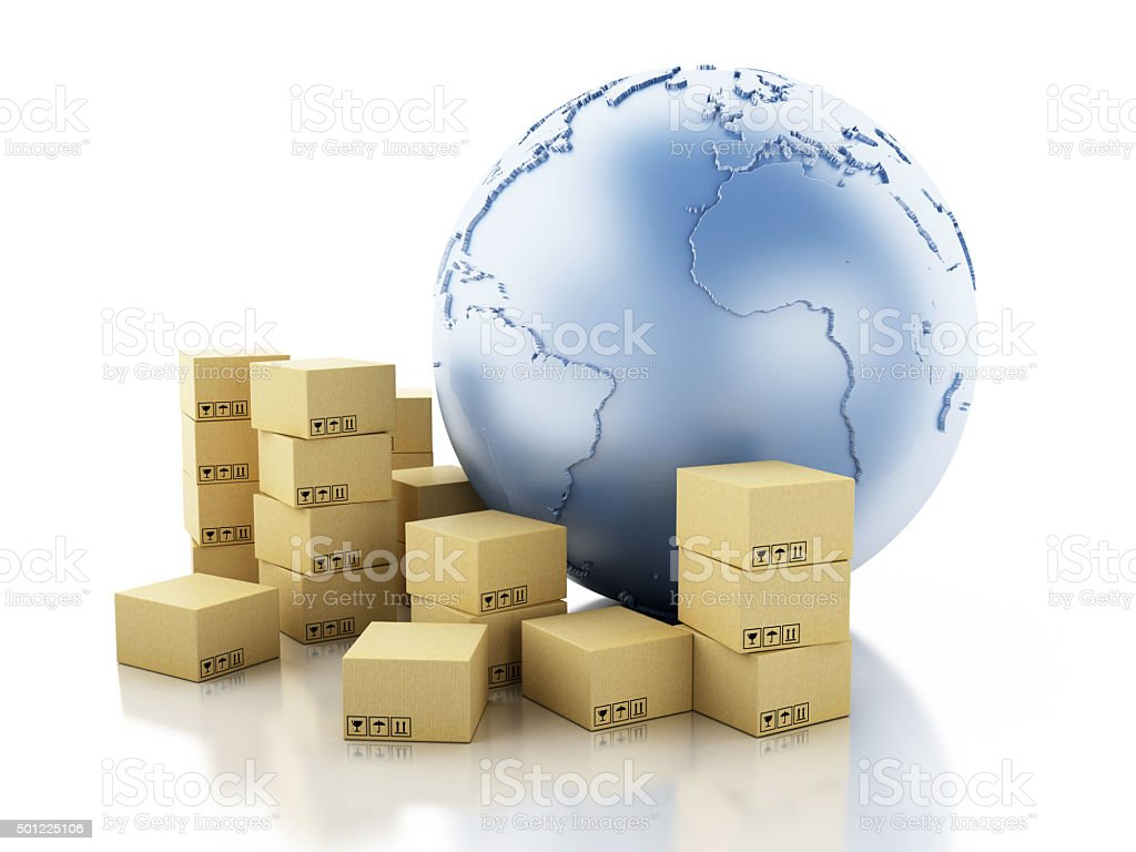 3d Earth globe with cardboard boxes. stock photo