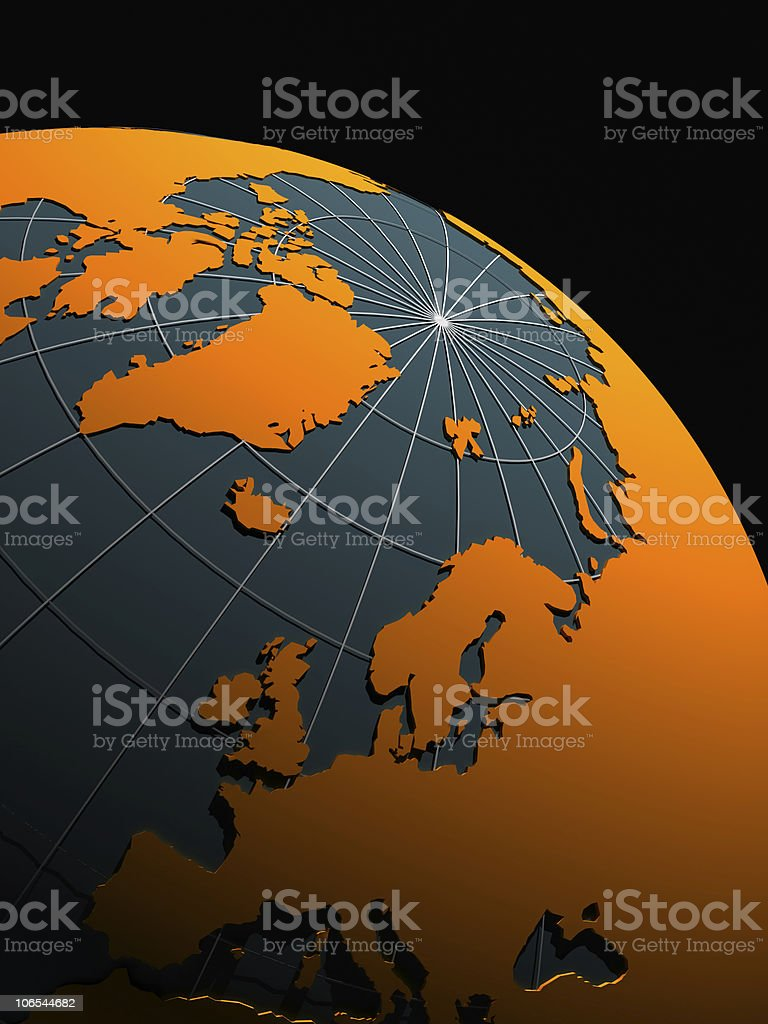 3d earth on black background royalty-free stock photo