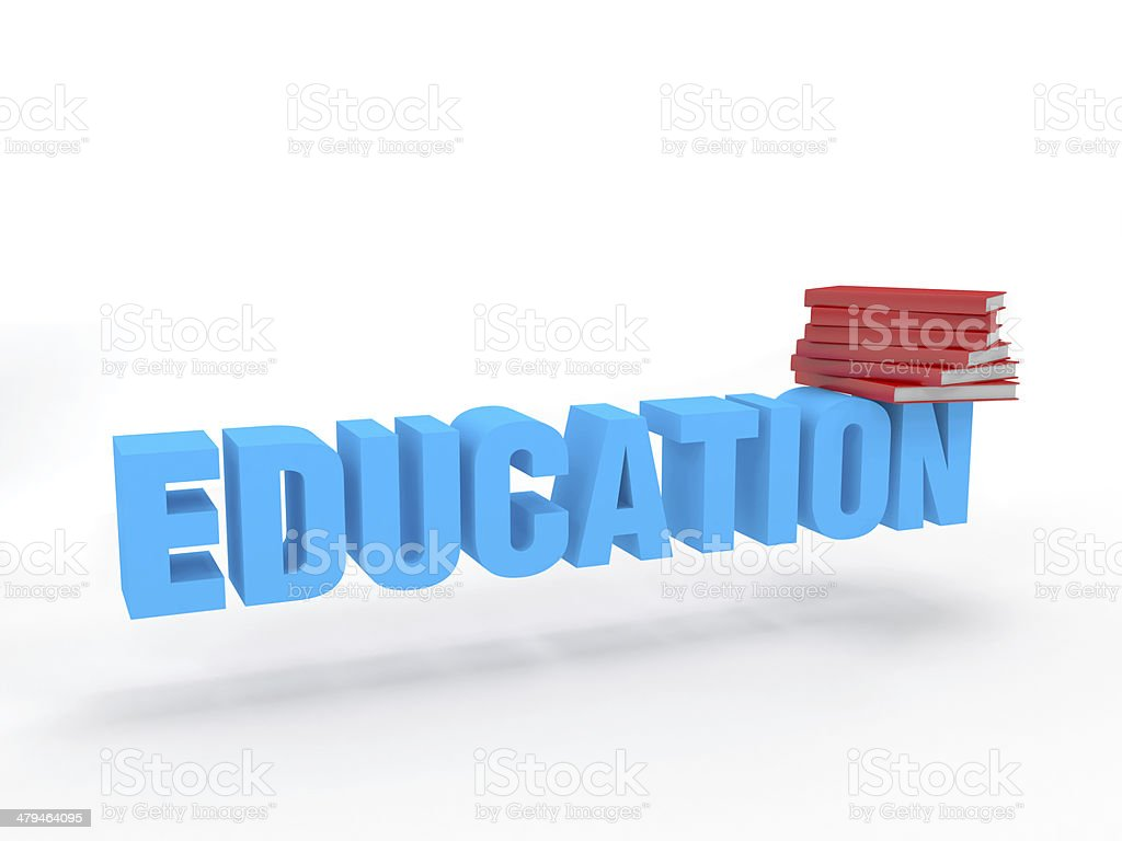 3d education text isolated white background with multiple books royalty-free stock photo