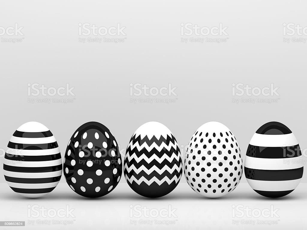 3d elegant, black and white Easter eggs stock photo