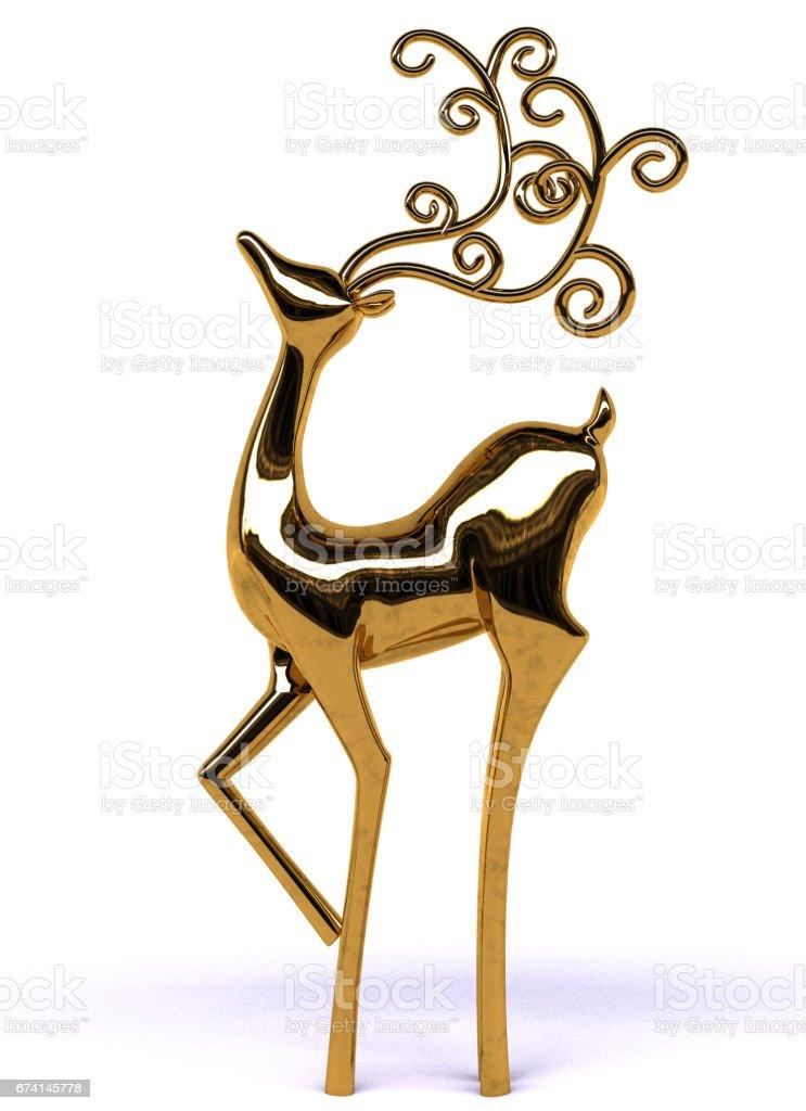 3d Elegant Gold Reindeer stock photo