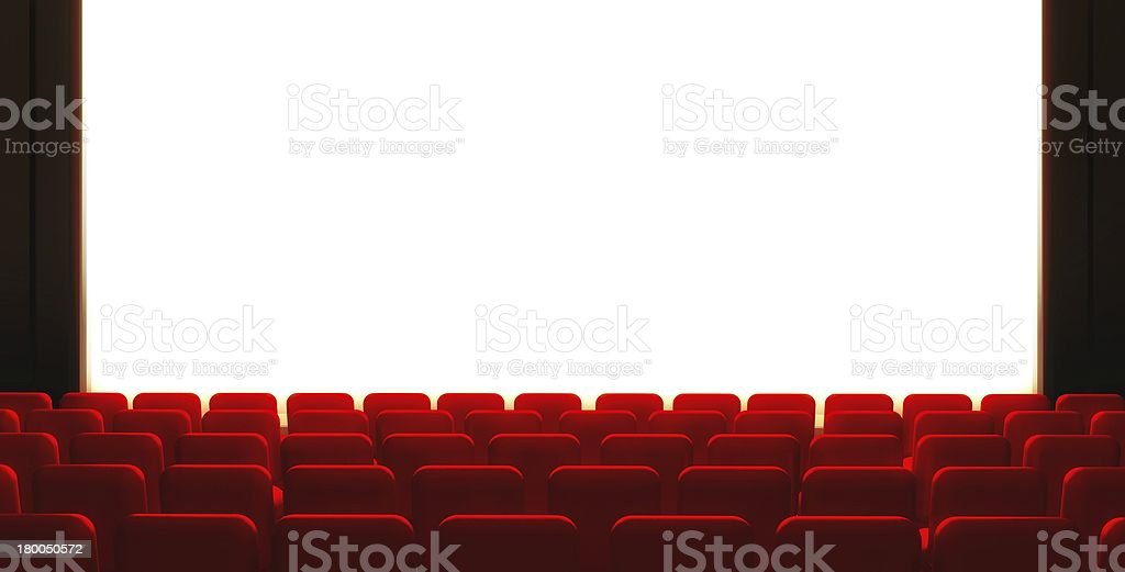 3d Empty cinema screen with auditorium royalty-free stock photo