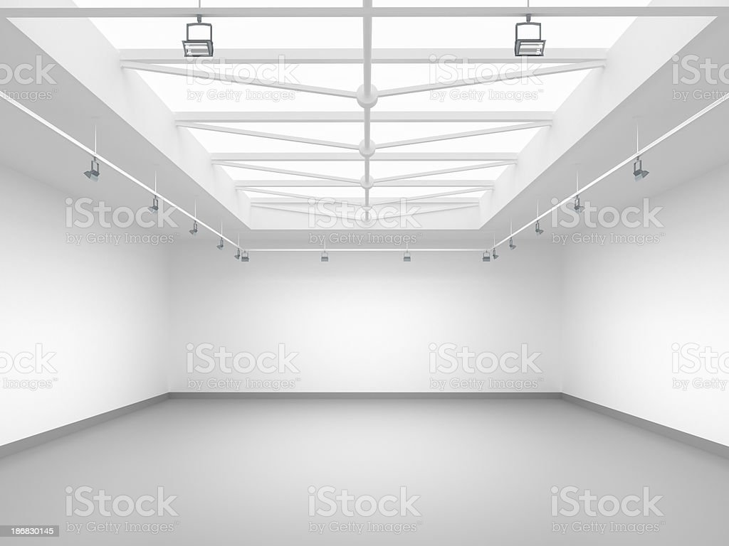 3d empty gallery stock photo