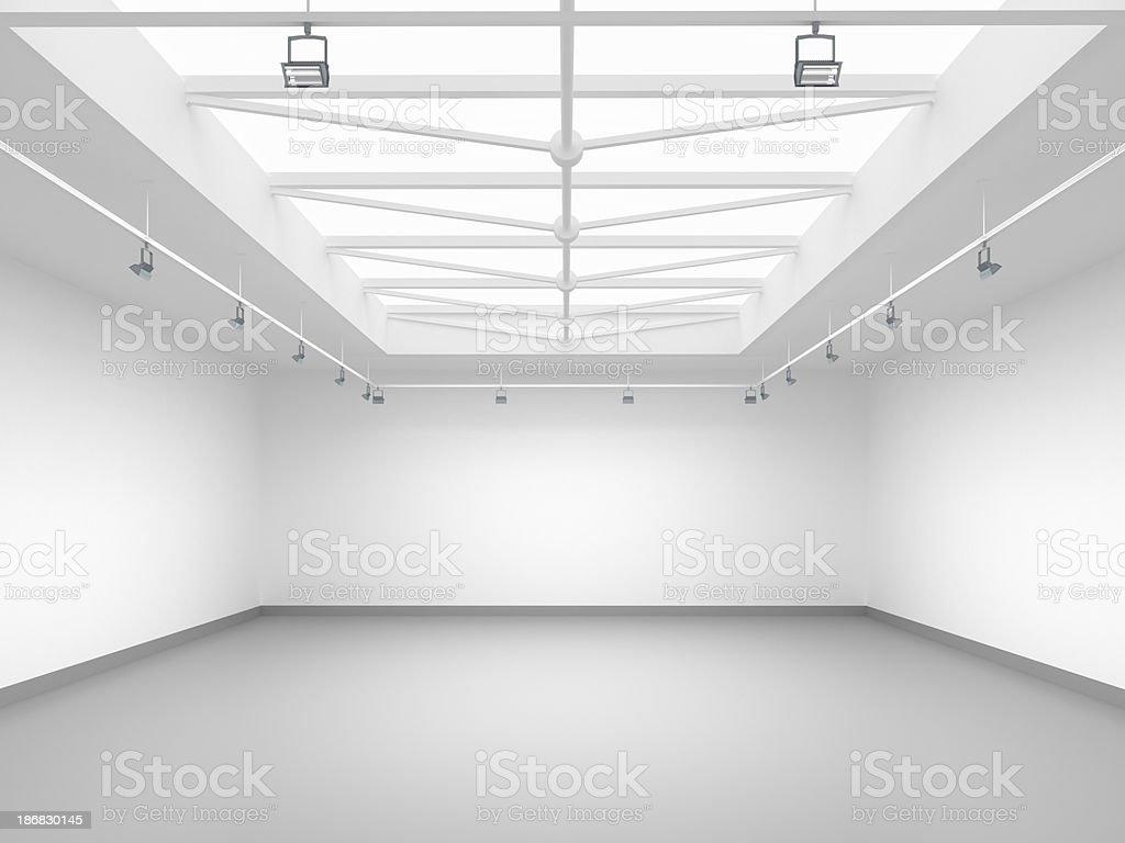 3d empty gallery stock photo