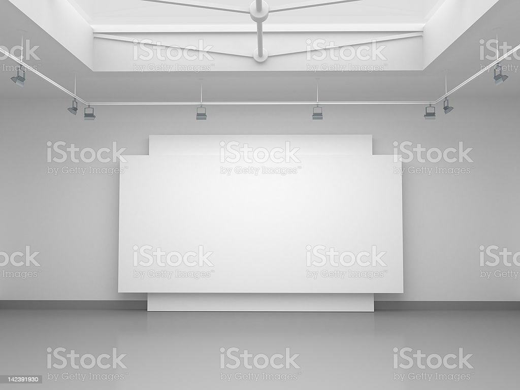 3d empty gallery space vector art illustration