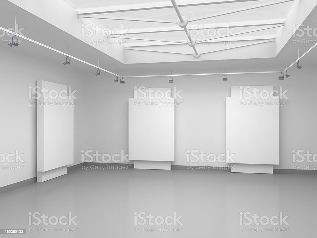 3d empty gallery space royalty-free stock photo