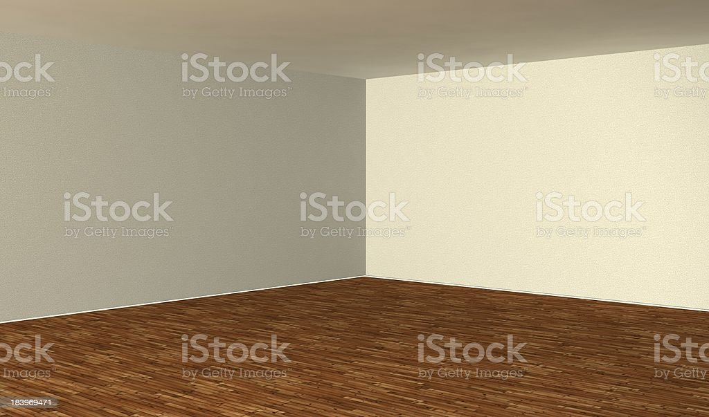 3d empty interior with wood parquet royalty-free stock photo