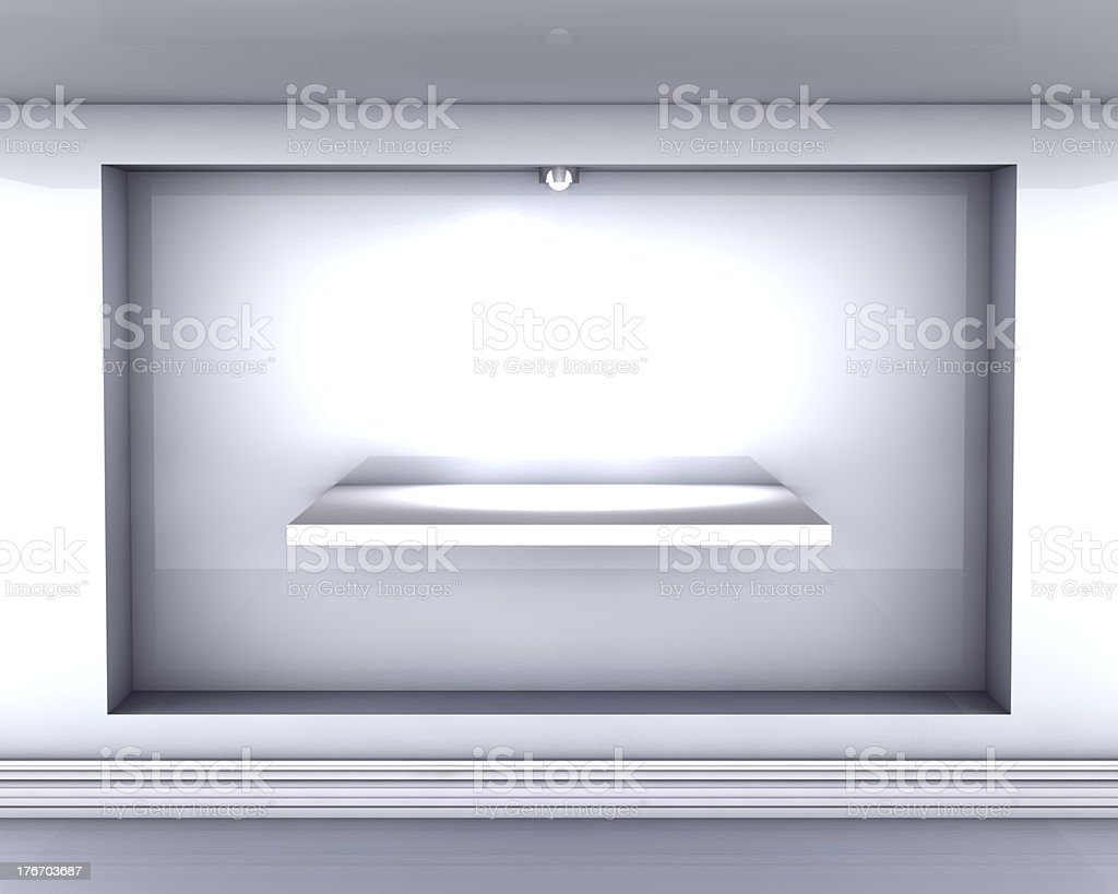 3d empty niche with shelf and spotlight for exhibit royalty-free stock photo