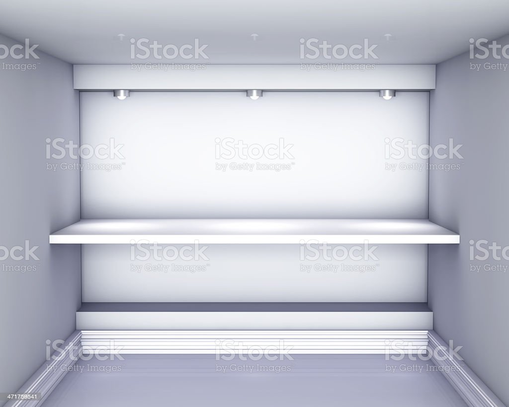 3d empty niche with shelf and spotlights for exhibit royalty-free stock photo