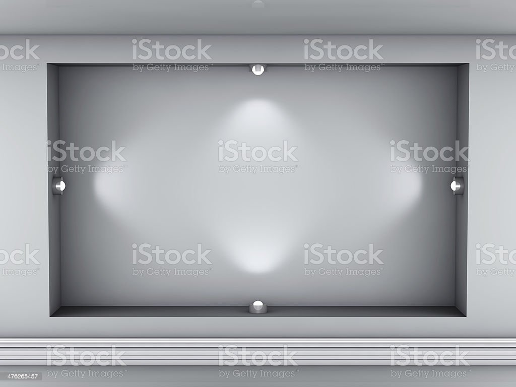 3d empty niche with spotlights for exhibit royalty-free stock photo
