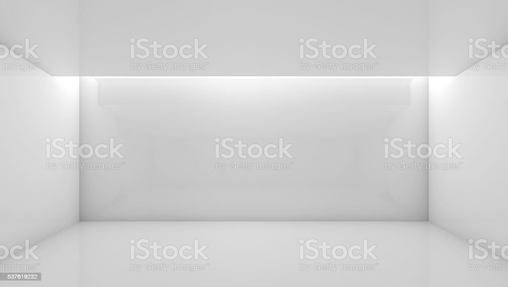 Attractive 3d Empty Room With Soft Ceiling Illumination Stock Photo