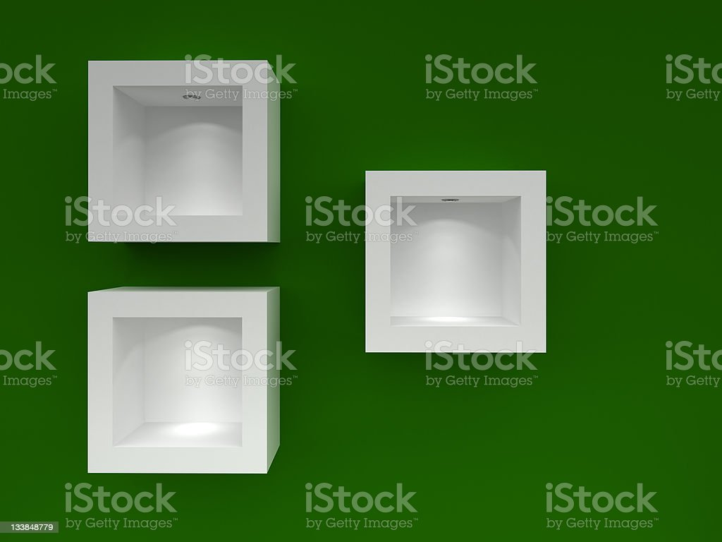 3d Empty shelves on green background stock photo