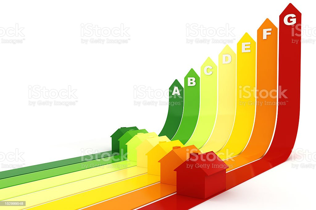3d, Energy efficiency concept, on white background stock photo