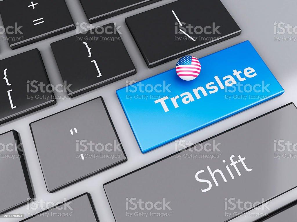3d english translation button on Computer Keyboard. Translating stock photo