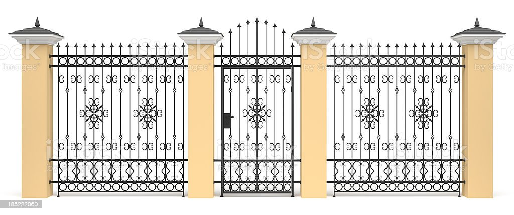 3d entrance with wrought iron decor stock photo