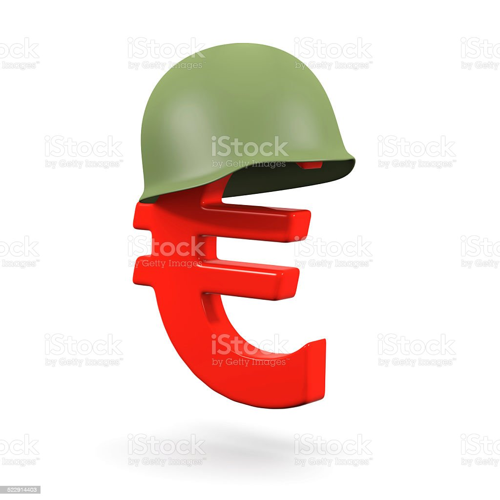 3d Euro symbol with army helmet stock photo