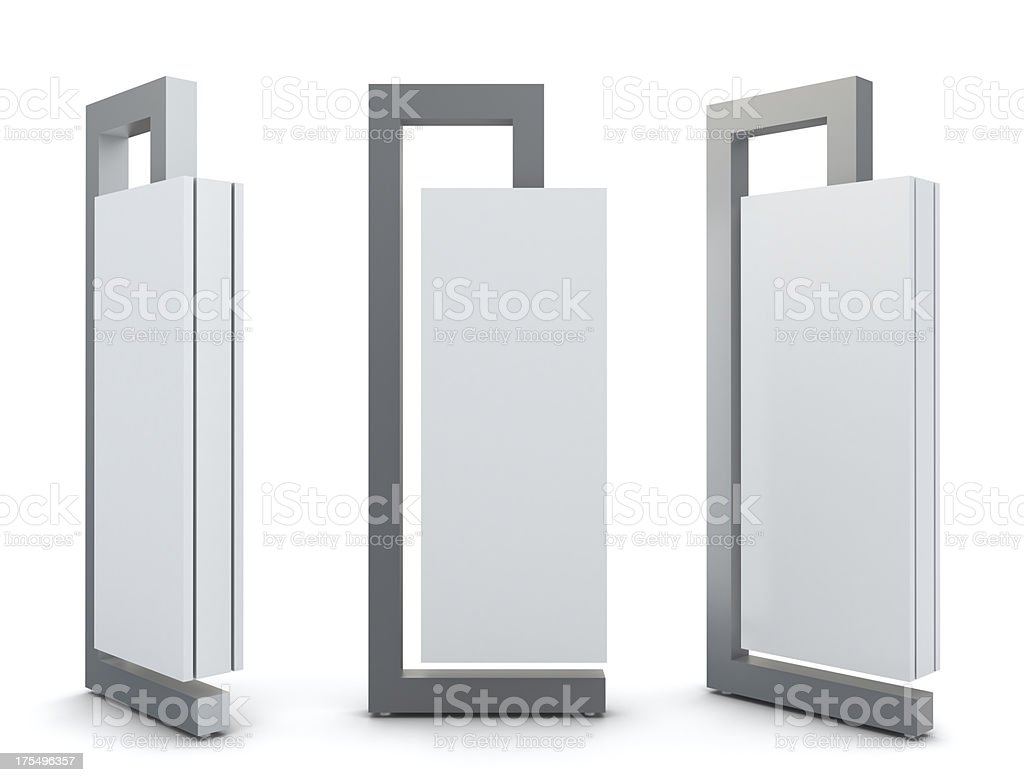 3d exhibition advertising panels stock photo