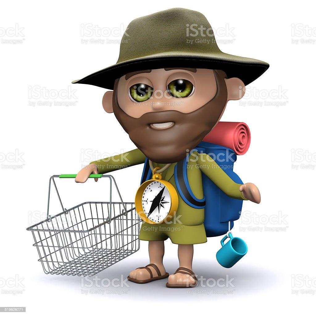3d Explorer goes shopping stock photo