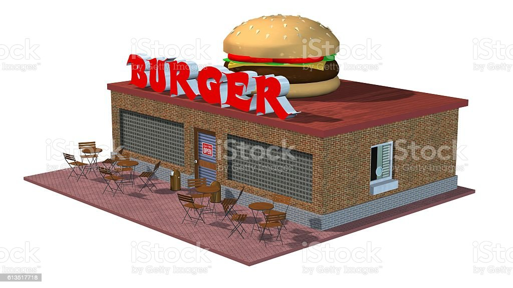 3d fast food Burger restaurant building isolated on white background vector art illustration