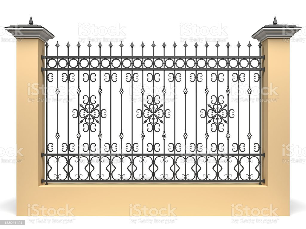3d fence with wrought iron railing decor stock photo