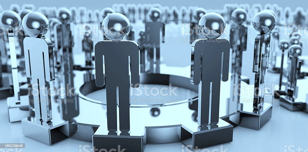 3d figures on connected cogs as teamwork concept royalty-free stock photo