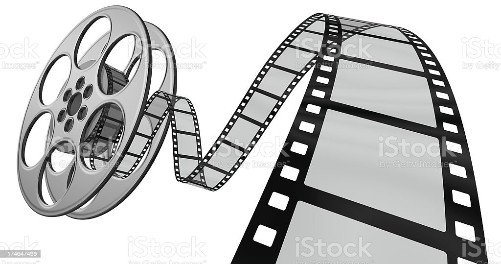 3d film coming out of its reel stock photo
