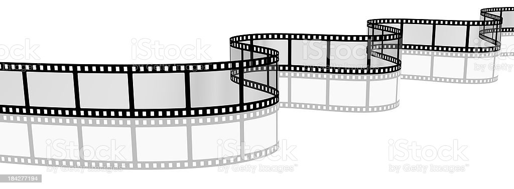 3d filmstrip with reflection stock photo